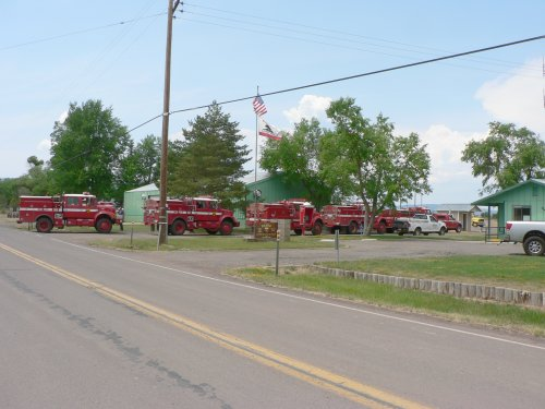 A line of Fire Trucks refueling at the Bieber CDF Station.
